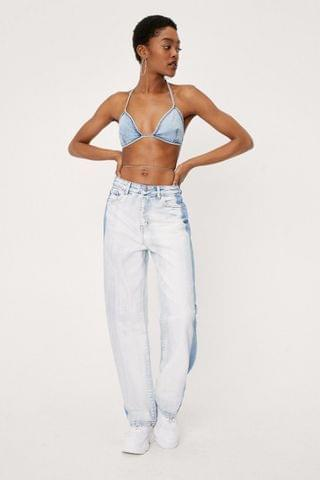 WOMEN Bleached Two Tone Straight Leg Jeans