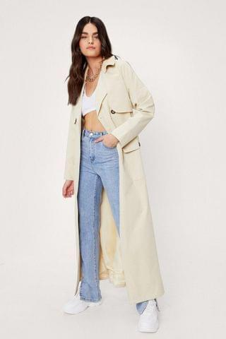 WOMEN Maxi Cord Collar Belted Trench Coat