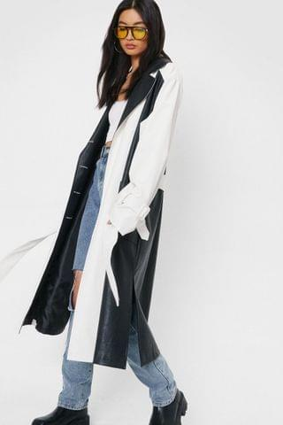 WOMEN Two Tone Faux Leather Belted Trench Coat
