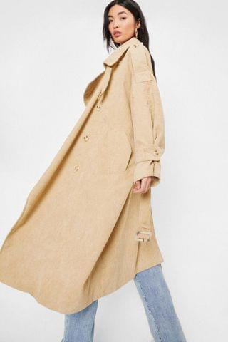 WOMEN Corduroy Oversized Belted Trench Coat