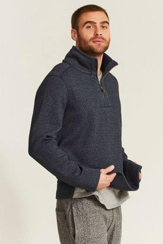 MEN FatFace Blue Haxby Half Neck Sweat Top
