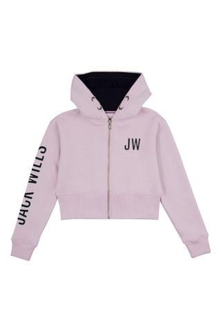 KIDS Jack Wills Girls Pink Relax Crop Zip Hoodie