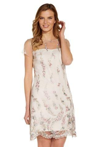 WOMEN Adrianna Papell Pink Floral Embroidery Shift Dress