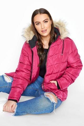 WOMEN Yours Padded Puffer Jacket With Faux Fur Trim