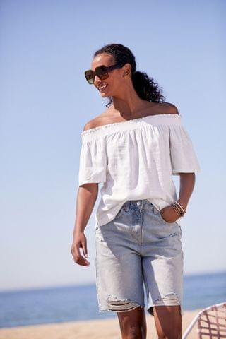 WOMEN White Flute Sleeve Top With Linen