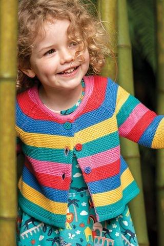 KIDS Frugi Organic Cotton Rainbow Stripe Cardigan