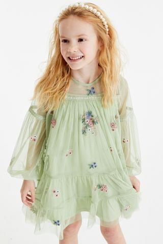 KIDS Green Tiered Embroidered Dress (3-16yrs)