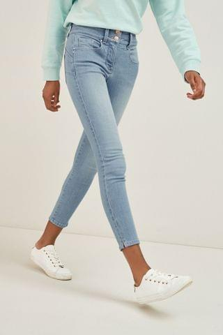 WOMEN Bleach Cropped Lift, Slim And Shape Skinny Jeans