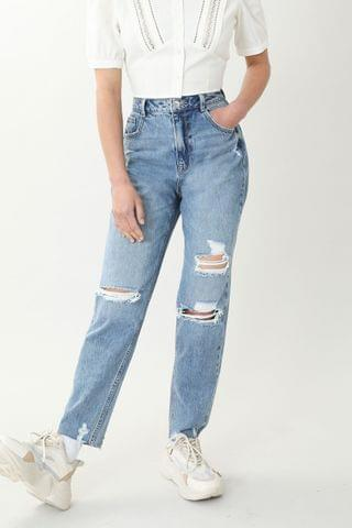 WOMEN Pimkie High Waisted Mom Ripped Knee Jean