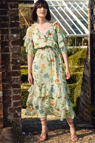 WOMEN Love & Roses Floral Tiered Midi Dress