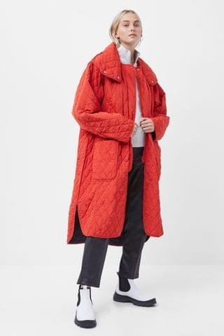 WOMEN French Connection Red Aris Quilt Reversible Coat