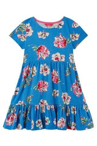 KIDS Joules Blue Evelyn Tiered Jersey Dress
