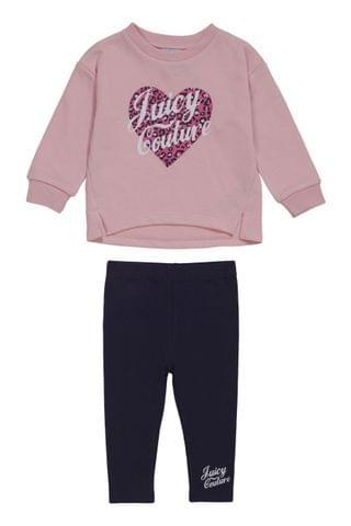 KIDS Juicy Couture Pink Leopard Crew And Legging Set