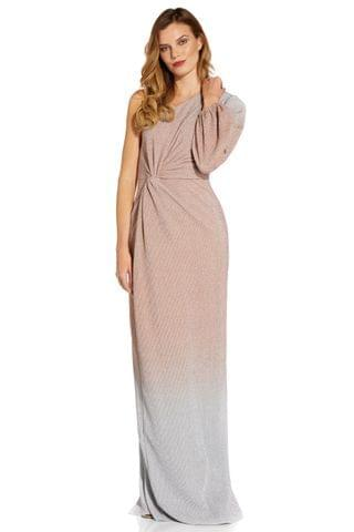 WOMEN Adrianna Papell Pink Metallic Ombre Gown