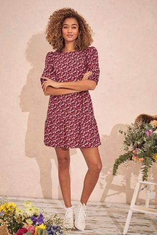 WOMEN Love & Roses Printed Tiered Smock Dress