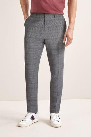 MEN Light Grey Check Trousers With Elasticated Waist