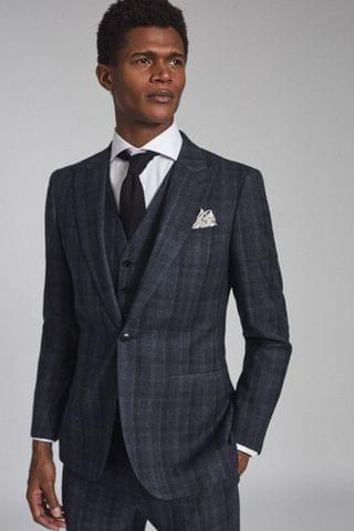 MEN REISS Blue Oxsted Wool Slim Fit Checked Blazer