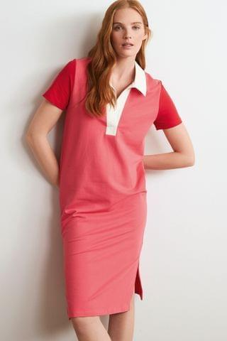 WOMEN Pink/Red Short Sleeve Rugby Dress