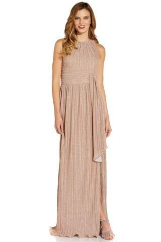 WOMEN Adrianna Papell Nude Metallic Pleated Gown