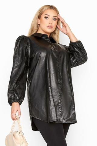 WOMEN Yours Leather Look Puff Sleeve Shirt