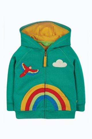 KIDS Frugi Organic Cotton Green Rainbow Hoodie