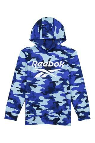 KIDS Reebok Blue All Over Print Camo Pullover Hoodie