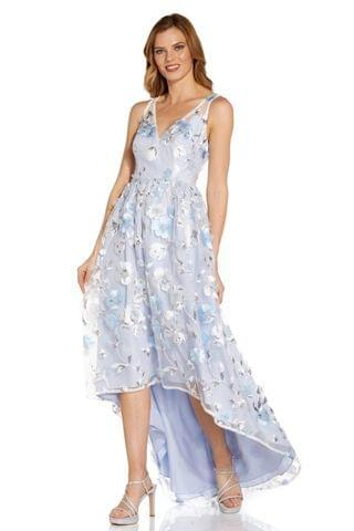 WOMEN Adrianna Papell Blue Floral Embroidered Gown