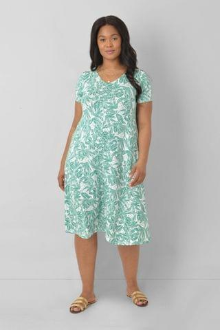WOMEN LIVE Curve Sustainable Jersey Green Floral Swing Dress