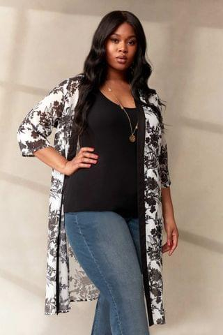WOMEN LIVE Curve Mono Floral Sustainable Recycled Polyester Kimono
