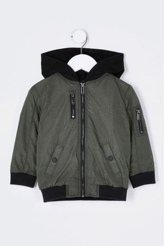 KIDS River Island Khaki Hooded Utility Bomber Jacket