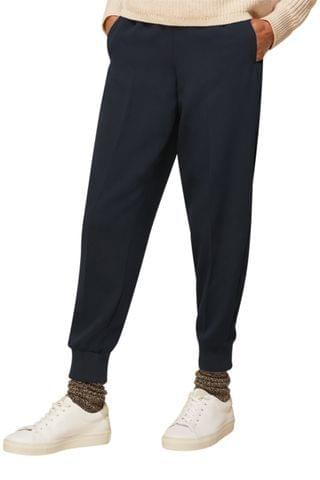 WOMEN Whistles Black Cuffed Crepe Joggers