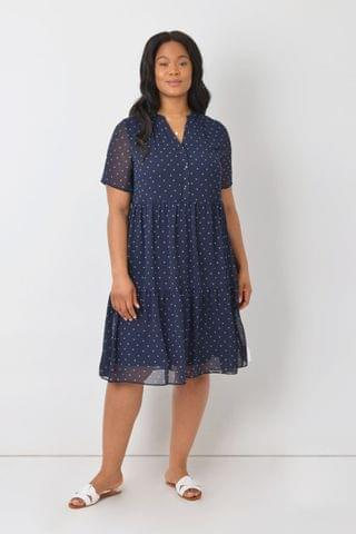 WOMEN Live Unlimited Curve Navy Bow Print Tiered Dress
