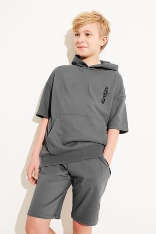 KIDS Grey Short Sleeve Hoodie And Shorts Co-ord Set (3-16yrs)