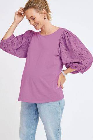 WOMEN Lilac Maternity Broderie Puff Sleeve Top
