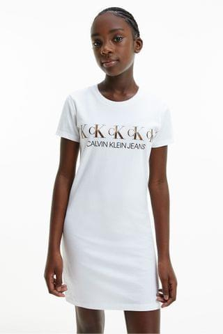 KIDS Calvin Klein Jeans White CK Foil T-Shirt Dress