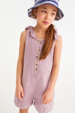 KIDS Lilac Button Front Short Playsuit (3-16yrs)