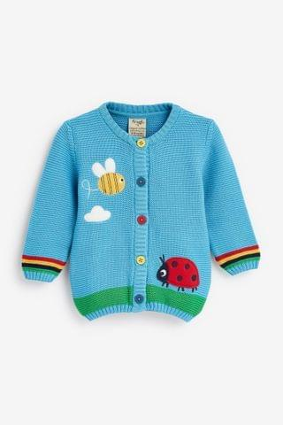 KIDS Frugi Organic Cotton Bee Garden Cardigan