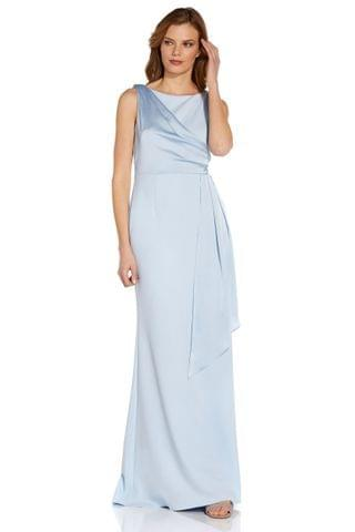 WOMEN Adrianna Papell Blue Knit Crepe Satin Gown