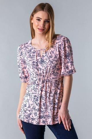 WOMEN Roman Ruched Key Hole Neck Floral Top