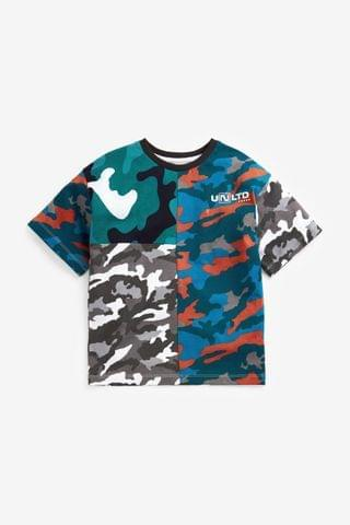 KIDS Multi Camo Spliced Short Sleeve Relaxed Drop Shoulder Fit T-Shirt (3-16yrs)