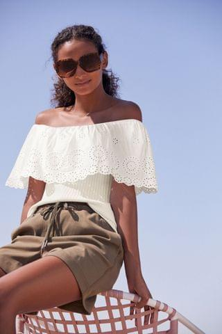 WOMEN White Broderie Off The Shoulder Top