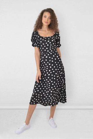 WOMEN Ro & Zo Black Spot Jersey Square Neck Dress