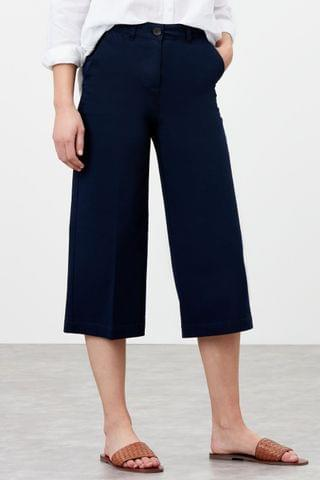 WOMEN Joules Blue Compton Wide Leg Cropped Chino Trousers