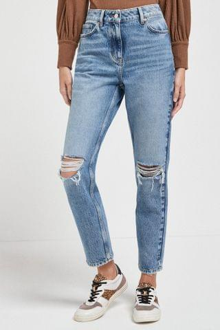WOMEN Mid Ripped Mom Jeans