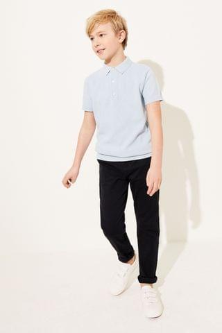 KIDS Blue Textured Knitted Polo Shirt (3-16yrs)