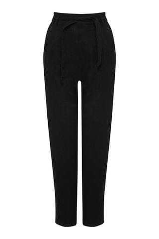 WOMEN M&Co Black Tapered Linen Trousers