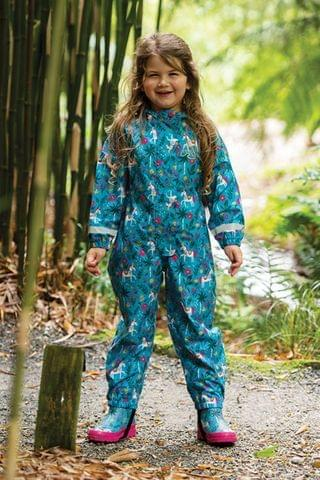 KIDS Frugi Blue Teal Horses Recycled Polyester Puddle Suit