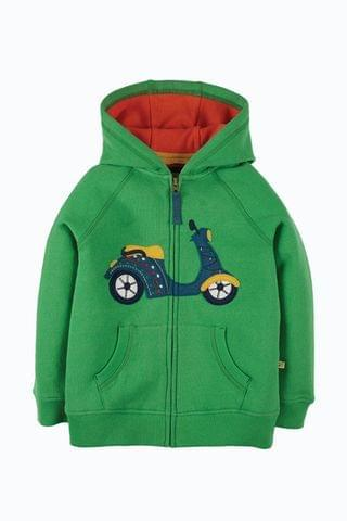KIDS Frugi Organic Cotton Green Scooter Hoodie