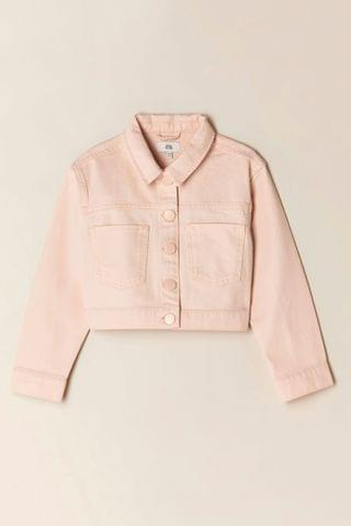 KIDS River Island Pink Pure Crop Denim Jacket