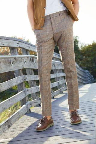 MEN Taupe Check Trousers With Elasticated Waist
